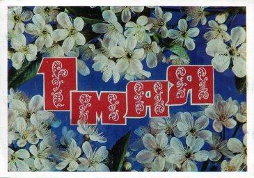 С праздником 1 мая, советская открытка. Надпись 1 мая и ветка яблони в цвету. Художник И. Дергилев. 1977. Отпечатано в МПФГ.