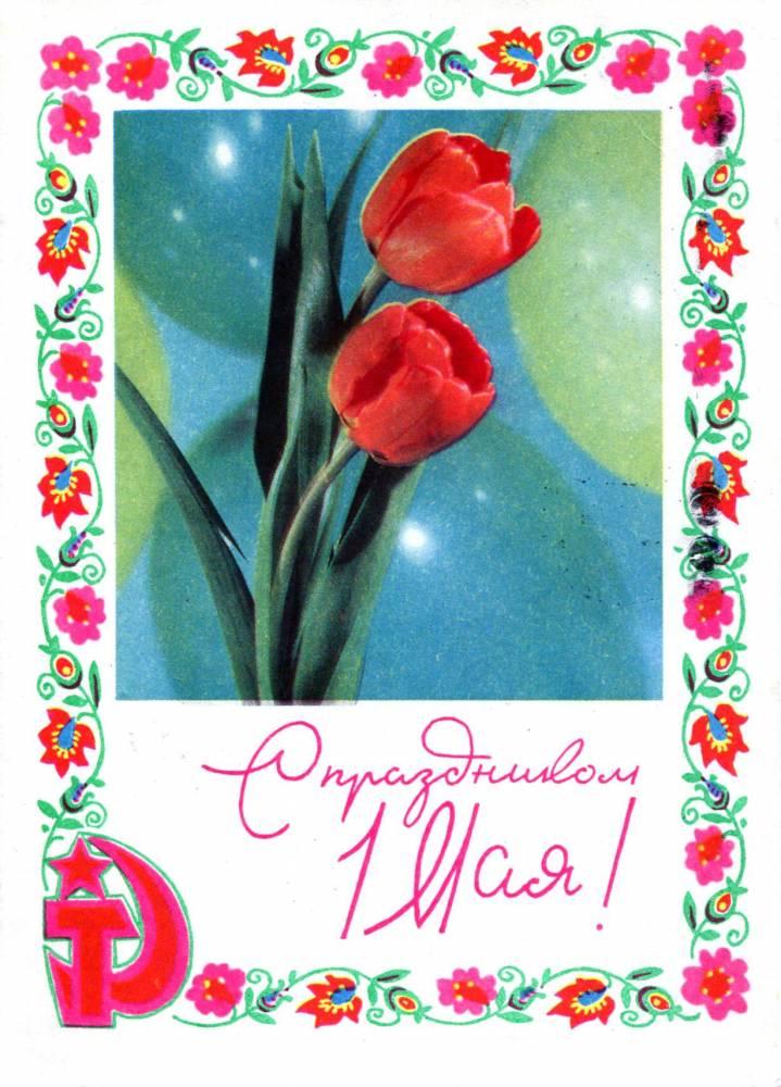 С праздником 1 мая, советская открытка, тюльпаны и серп и молот, 1970