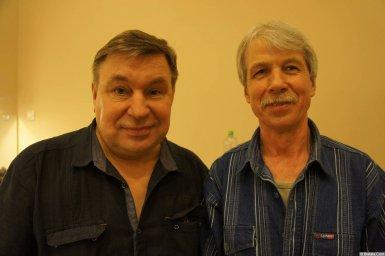 Михаил Шелег с певцом на XX-м фестивале памяти Аркадия Северного