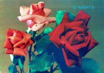 С днем 8 марта, советская открытка. Художник Б. Круцко. 1988 год. Розы