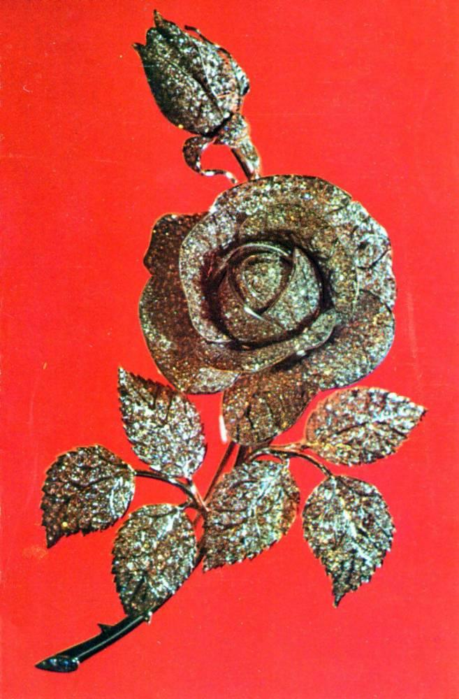 С днем 8 марта, советская открытка. Золотая роза