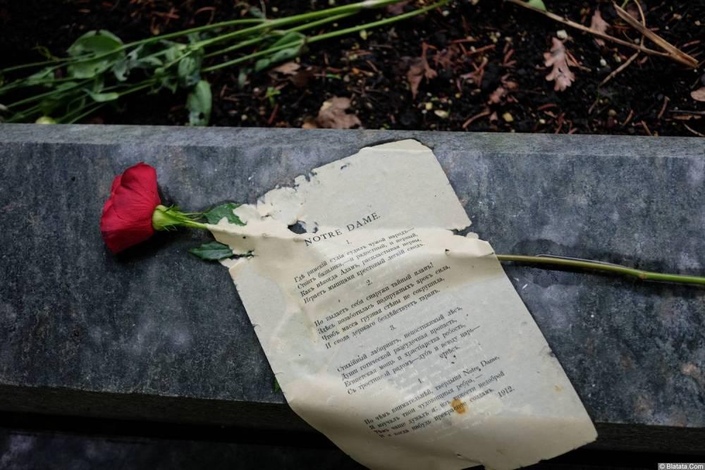 Цветы и текст на кладбище Сент-Женевьев-де-Буа
