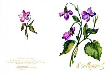 С днем 8 марта, советская открытка. Фотограф А. Писмина. 1984 год. Букет