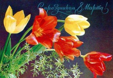 С днем 8 марта, советская открытка. Художник В. Зеленова. 1984 год. Тюльпаны