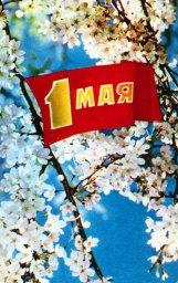 С праздником 1 мая, советская открытка, яблони в цвету и флаг, 1973